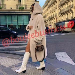 H&M Hooded Faux Fur Teddy Coat